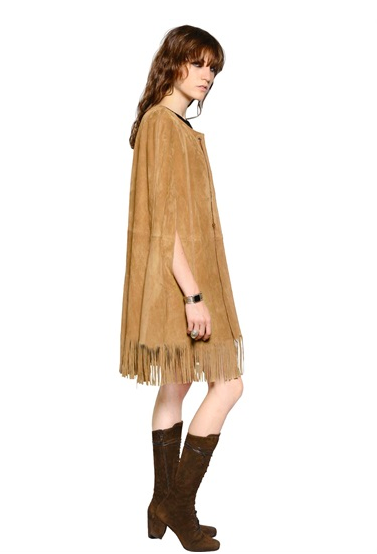 Friendly-Madrid-Saint-Laurent-fringed-Suede-cape
